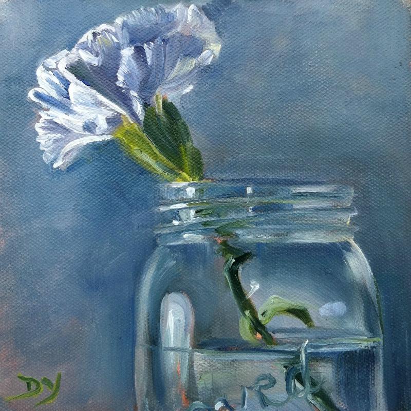 """White Carnation, oil on canvas board, 6x6"" original fine art by Darlene Young"