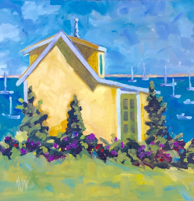 """""""Provincetown The Finial Cottage 12x12  this painting is in an auction at Provincetown Art Association and Museum"""" original fine art by Mary Sheehan Winn"""
