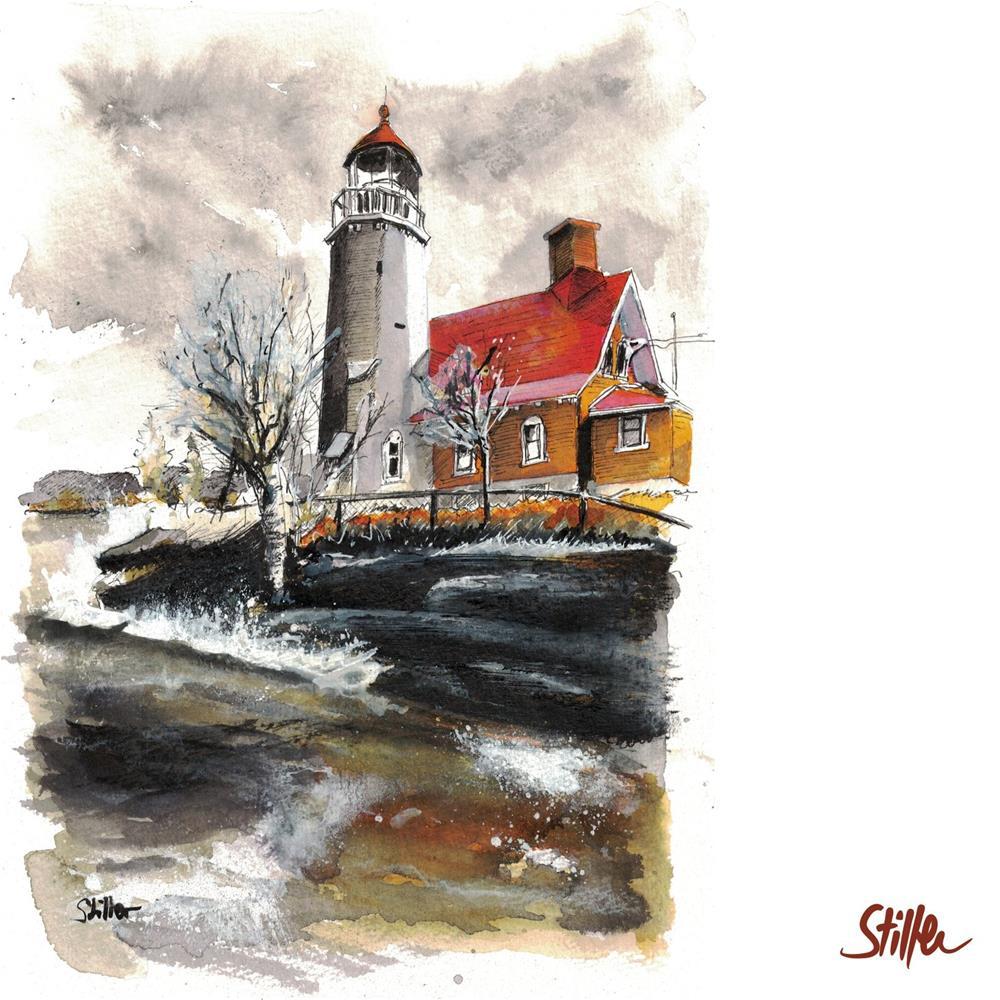 """""""3435 Bruising Lighthouse"""" original fine art by Dietmar Stiller"""