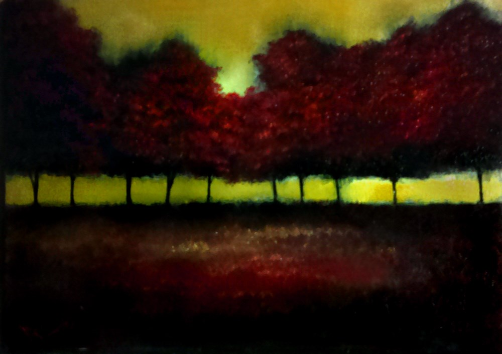 """A Row of Red Trees"" original fine art by Bob Kimball"