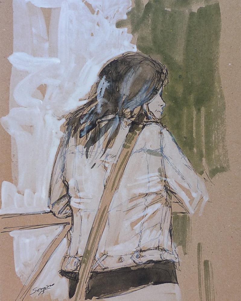"""""""Sketch. Tourist"""" original fine art by Elena Senina"""