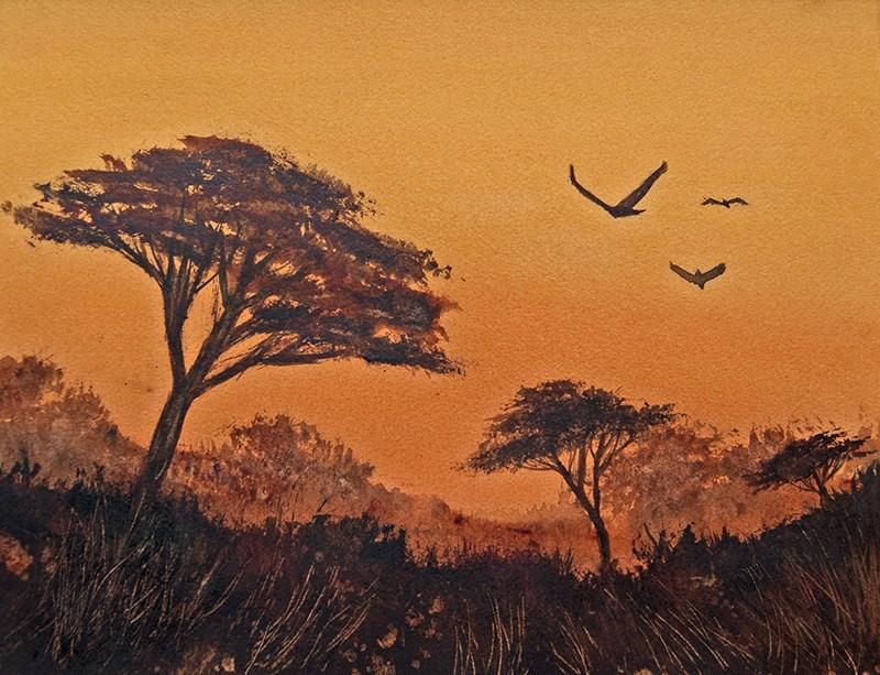 """""""African Sunset II"""" original fine art by Jean Lurssen"""
