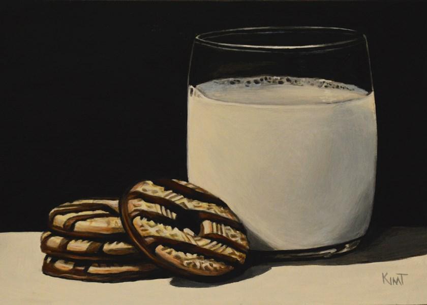 """Fudge Stripe Cookies and Milk"" original fine art by Kim Testone"