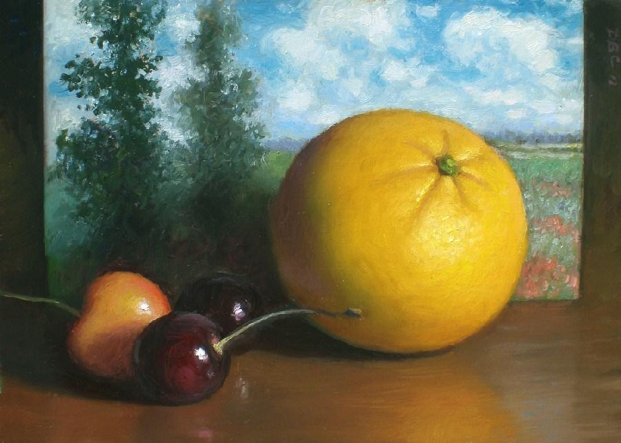 """Orange and Monet landscape"" original fine art by Debra Becks Cooper"