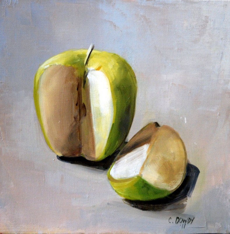 """Green Apple with Slice"" original fine art by Christina Dowdy"