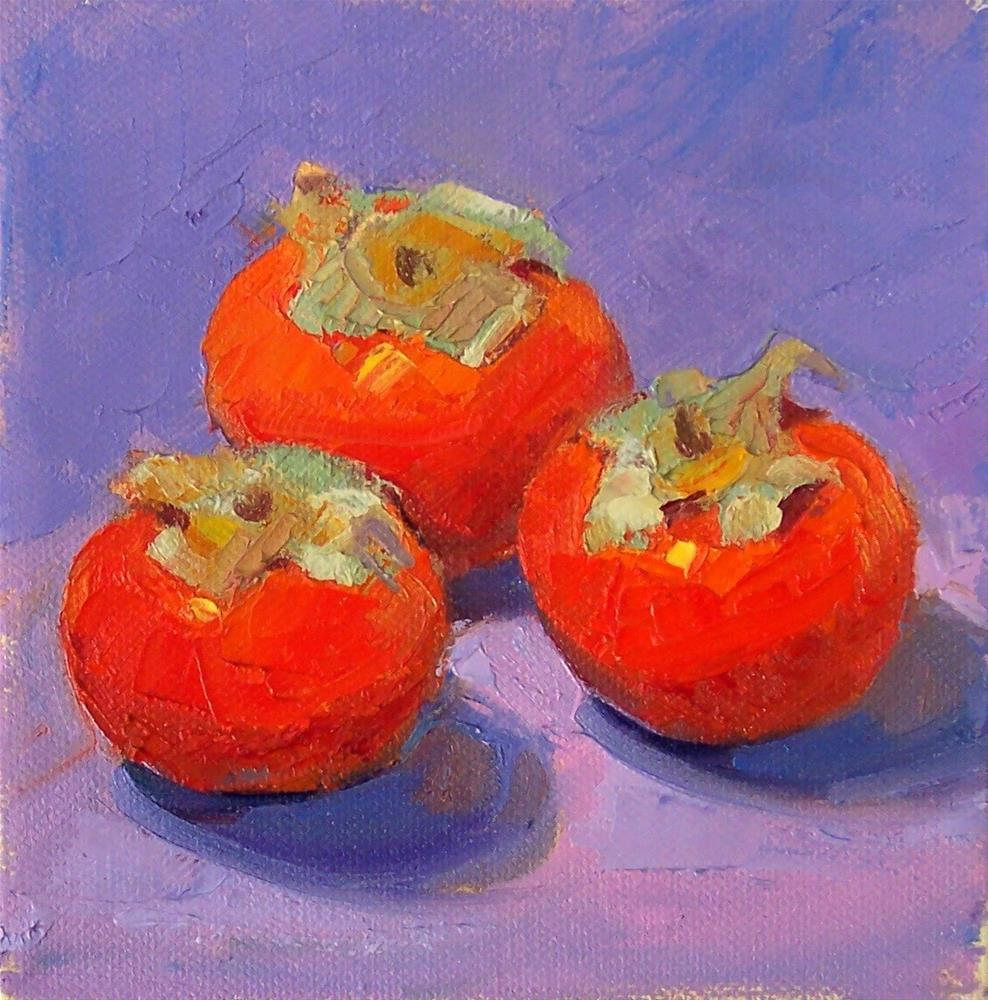 """Persimmions3,still life,oil on canvas,6x6,price$200"" original fine art by Joy Olney"