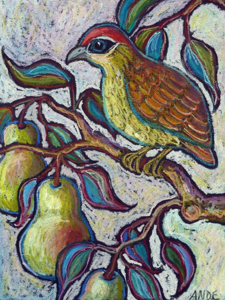 """""""Partridge in a Pear Tree 2"""" original fine art by Ande Hall"""