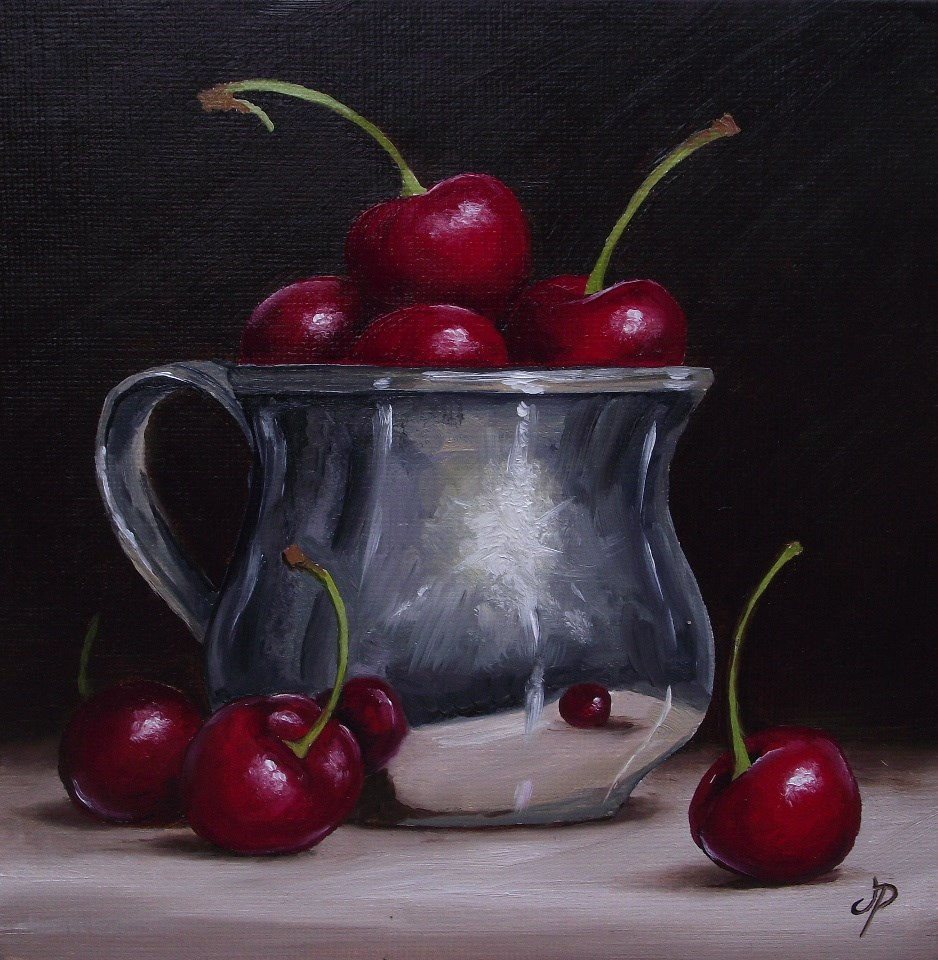 """""""Silver cup with Cherries"""" original fine art by Jane Palmer"""