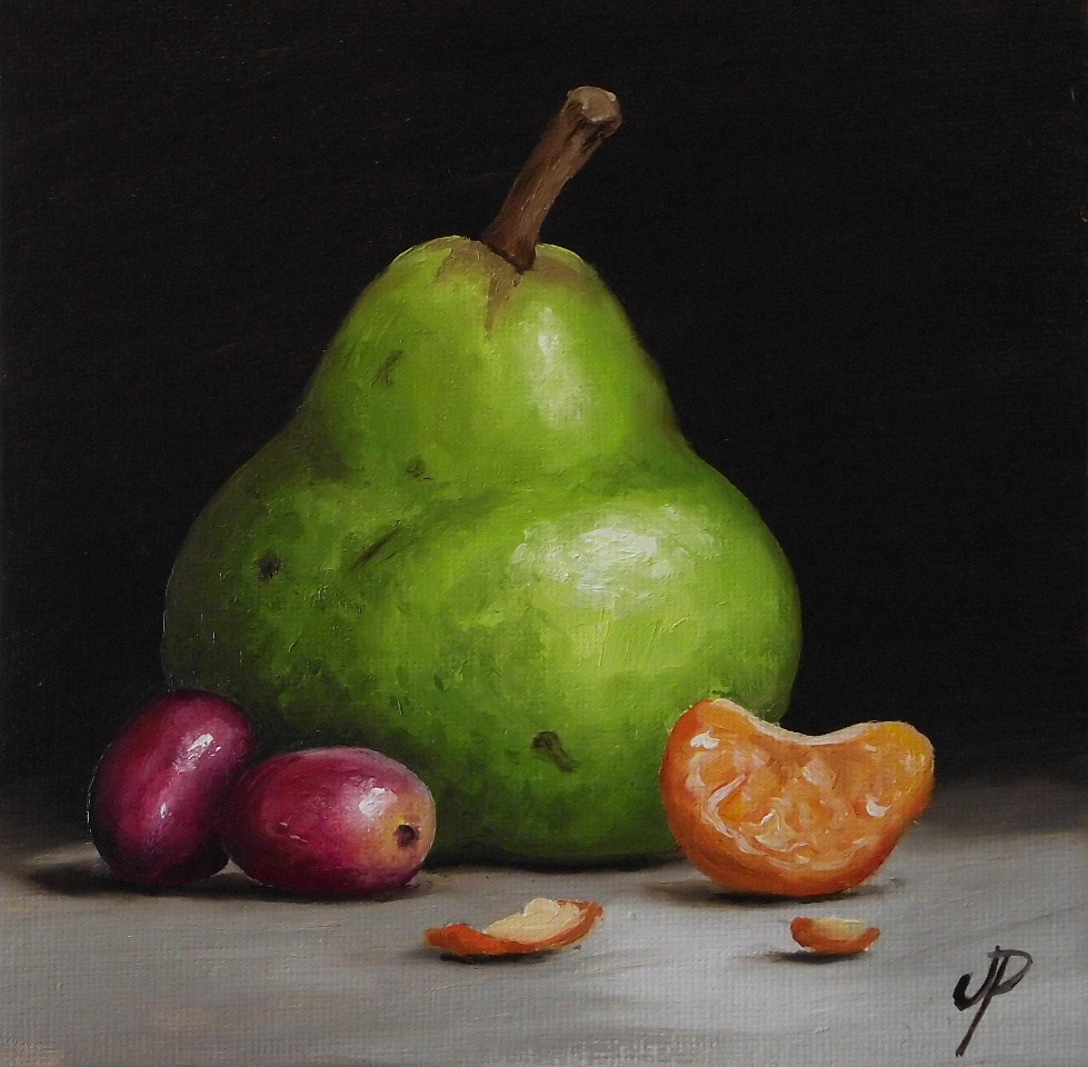 """""""Pear with fruits and a little Pear"""" original fine art by Jane Palmer"""