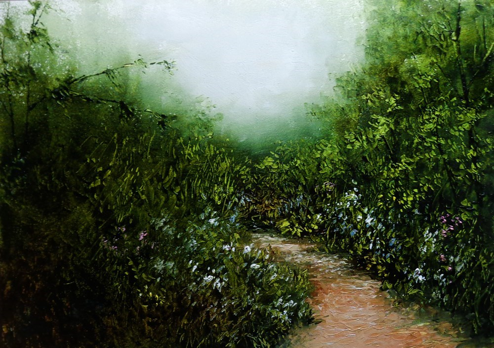 """""""A Path with Flowers"""" original fine art by Bob Kimball"""