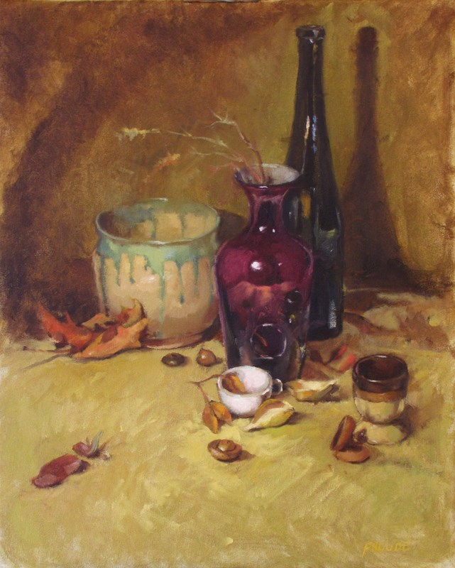 """""""White cup and acorns"""" original fine art by Dave Froude"""