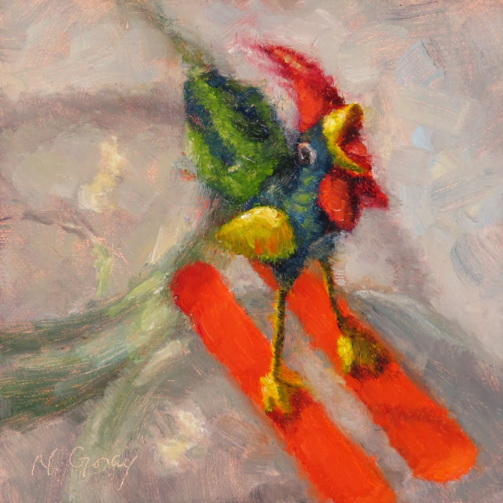 """Rooster Got Skis"" original fine art by Naomi Gray"