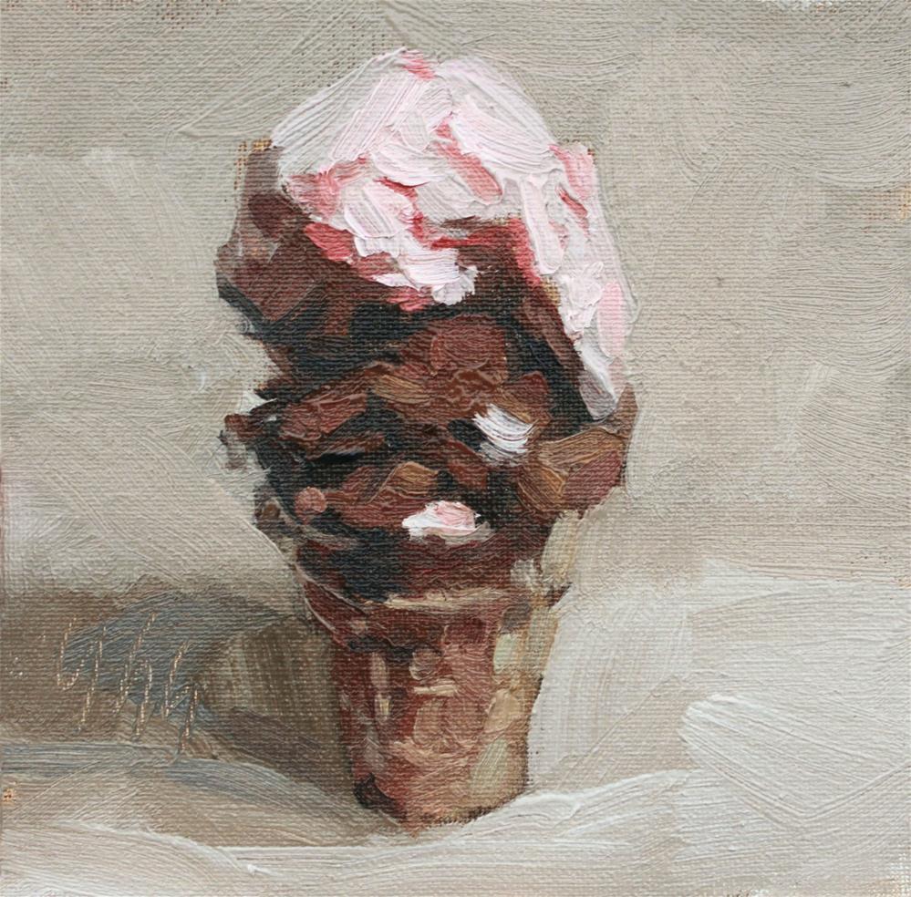 """The Ice Cream Challenge"" original fine art by Yuehua He"