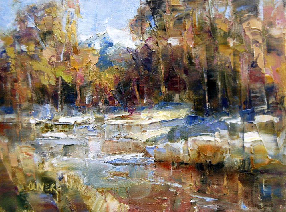 """""""First Snow Along the River"""" original fine art by Julie Ford Oliver"""