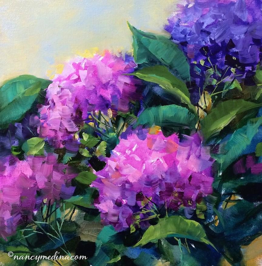 """Confetti Pink Hydrangeas and a New Hydrangea Video"" original fine art by Nancy Medina"