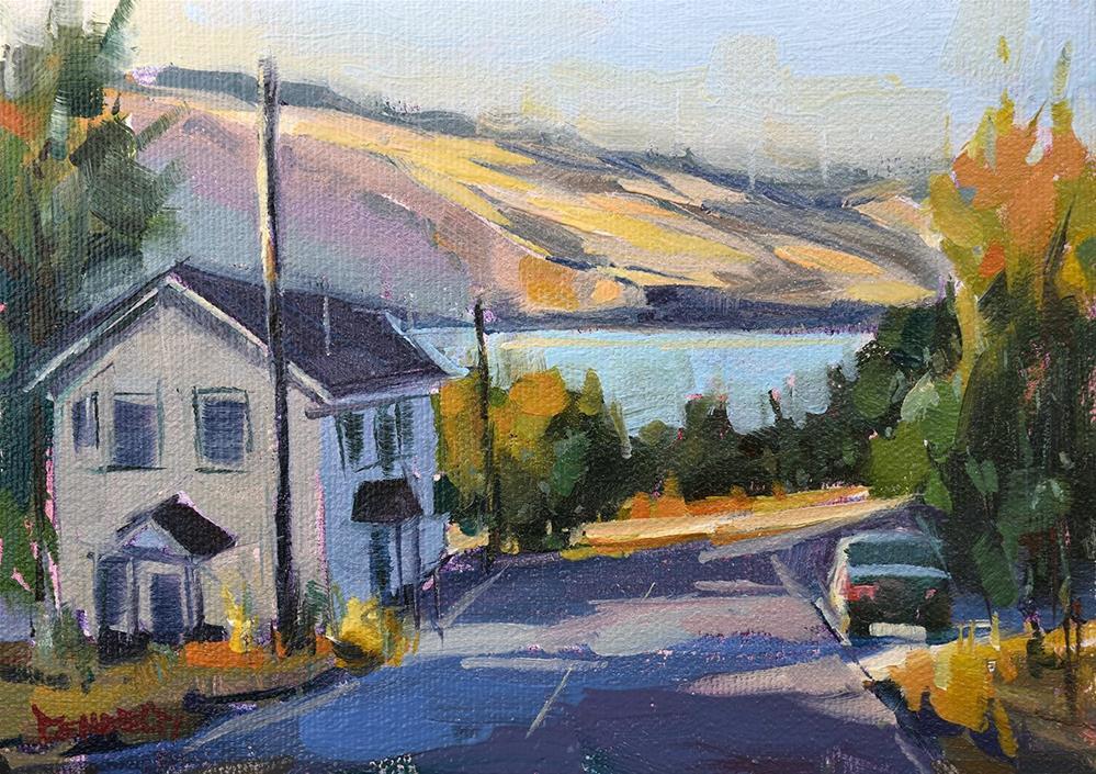 """River View in Mosier"" original fine art by Cathleen Rehfeld"