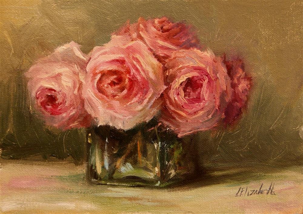 """Pink Roses with Green, 5x7 Oil on linen Panel"" original fine art by Carolina Elizabeth"