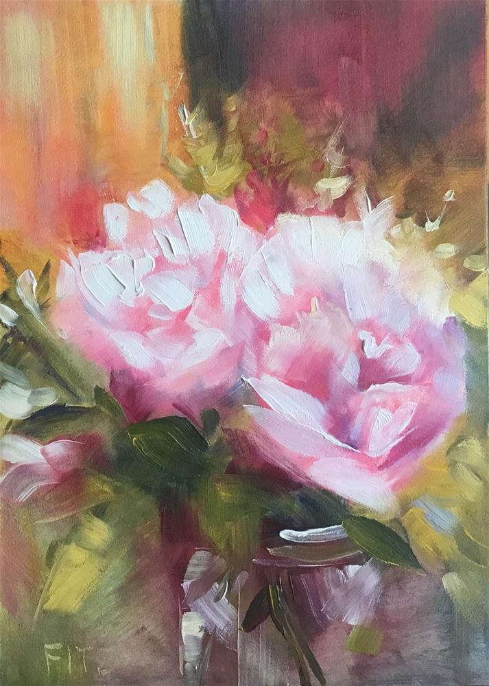 """Impressionistic Peonies in a Vase"" original fine art by Charlotte Fitzgerald"