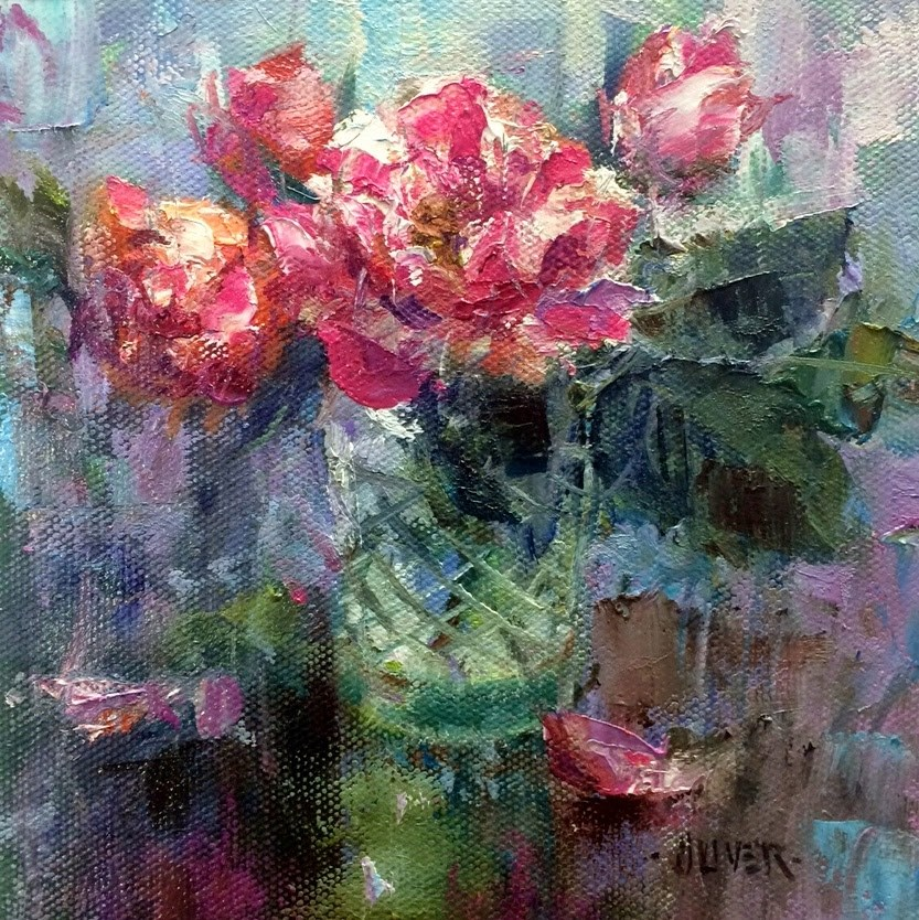 """""""Peppermint Roses and Solution!"""" original fine art by Julie Ford Oliver"""