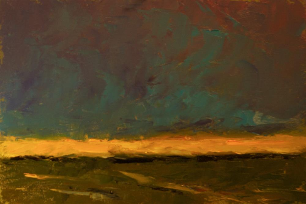 """Landscape with Orange Sky"" original fine art by Andre Pallat"