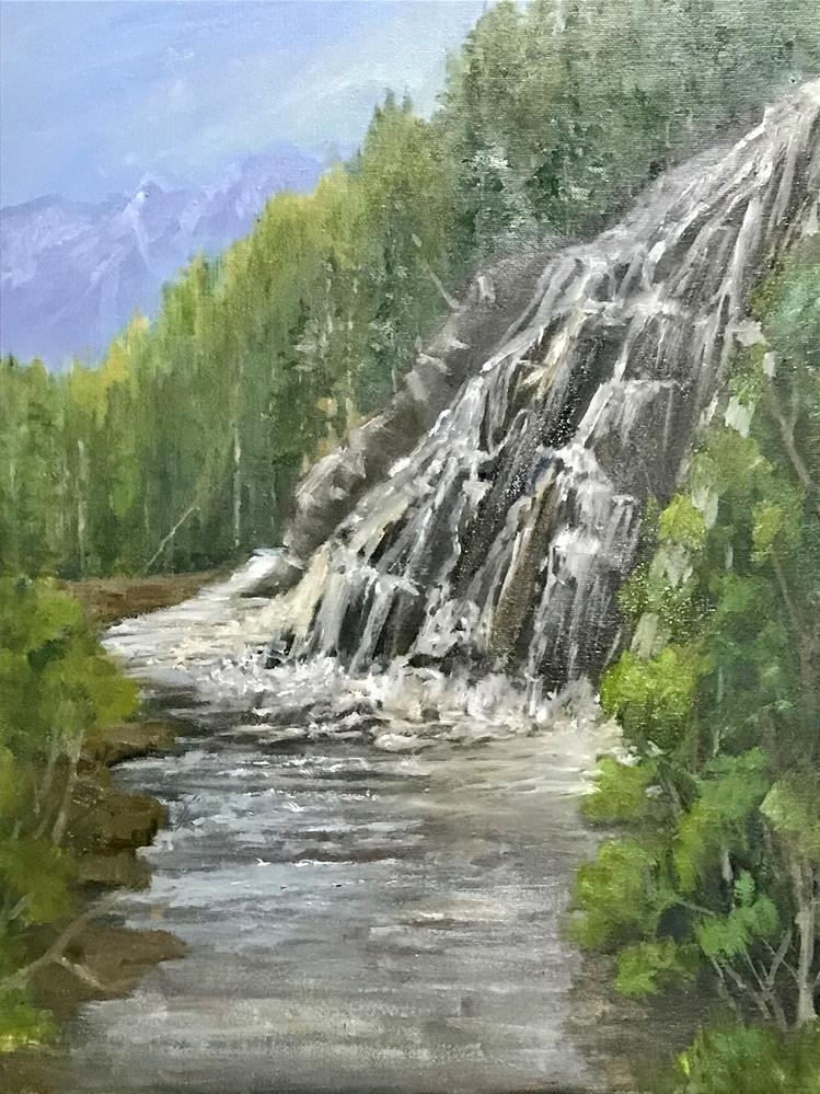 """ mountain river waterfall"" original fine art by Betty Argiros"