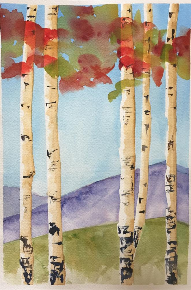 """Autumn Aspen Group"" original fine art by Renee Robison"