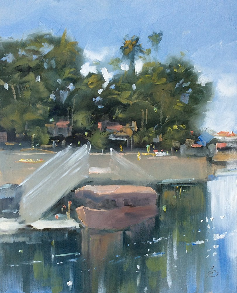 """CANAL IN LONG BEACH, CALIFORNIA"" original fine art by Tom Brown"