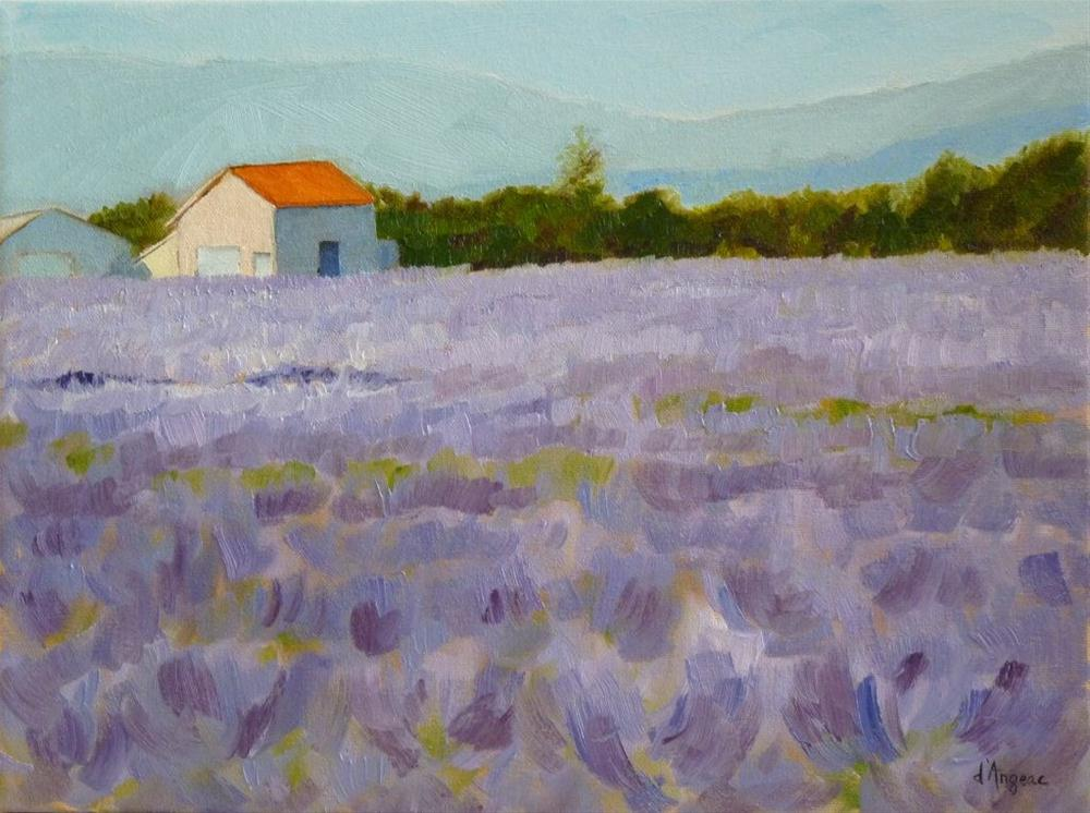 """House in Lavender Fields"" original fine art by Karen D'angeac Mihm"
