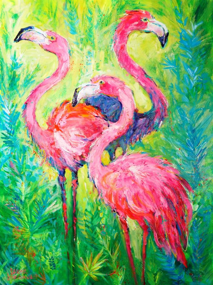 """Flamingo Soiree"" original fine art by Leoma Lovegrove"