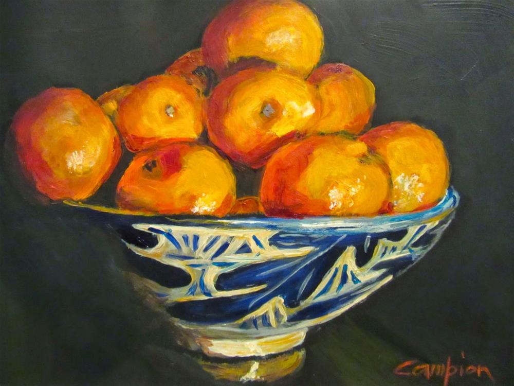"""""""522 Cuties in the Oak Leaf Bowl"""" original fine art by Diane Campion"""
