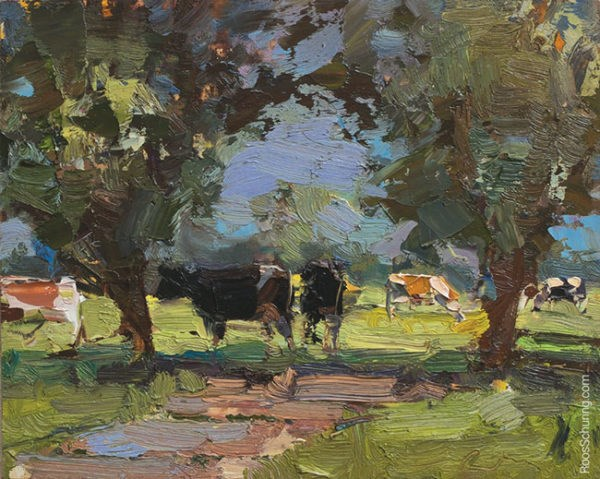 """""""Painting Cows in Shade"""" original fine art by Roos Schuring"""