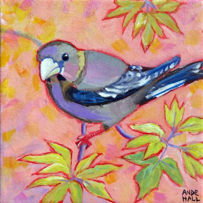 """Evening Grosbeak Female"" original fine art by Ande Hall"