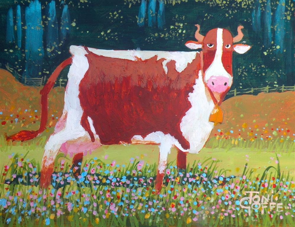"""Cow America"" original fine art by Toni Goffe"
