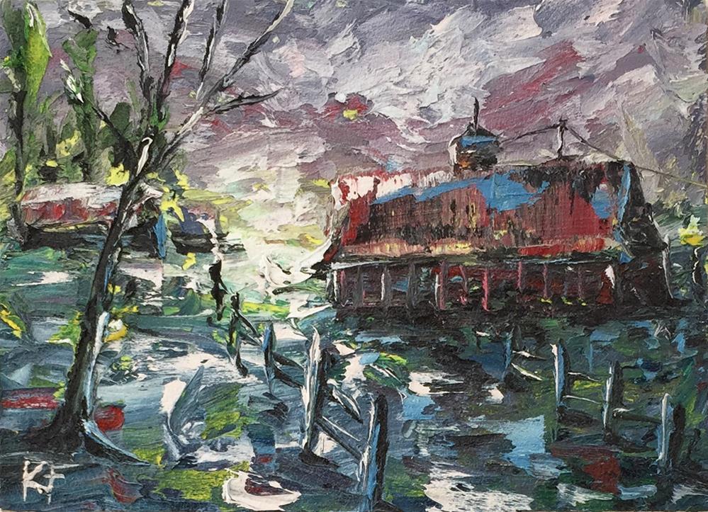"""""""Morning Light Barn"""" original fine art by Ken Fraser"""