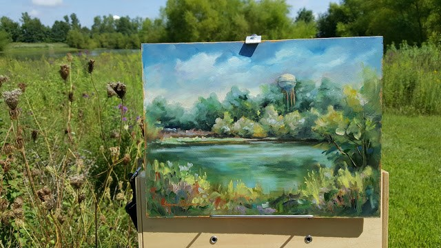 """""""Water Tower from Disney's Pond"""" original fine art by Tammie Dickerson"""