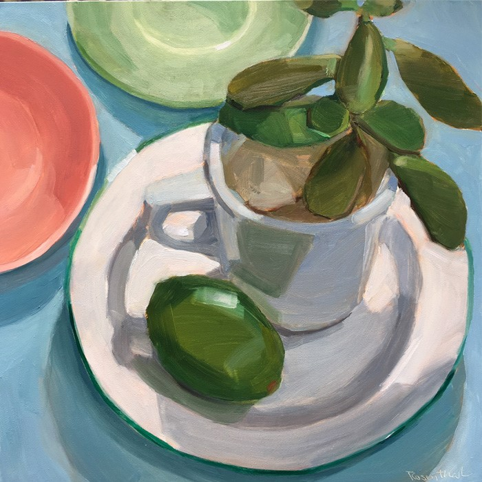 """""""Rubber Plant and Lime on White Plate"""" original fine art by Robin Rosenthal"""