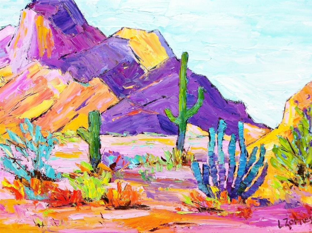 """Purple Desert Mountains"" original fine art by Liz Zornes"