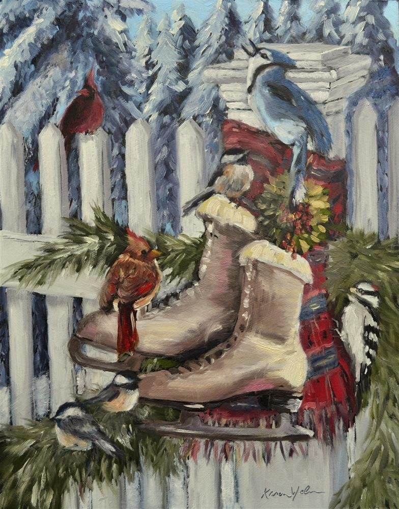 """Winter Birds"" original fine art by Karen Weber"
