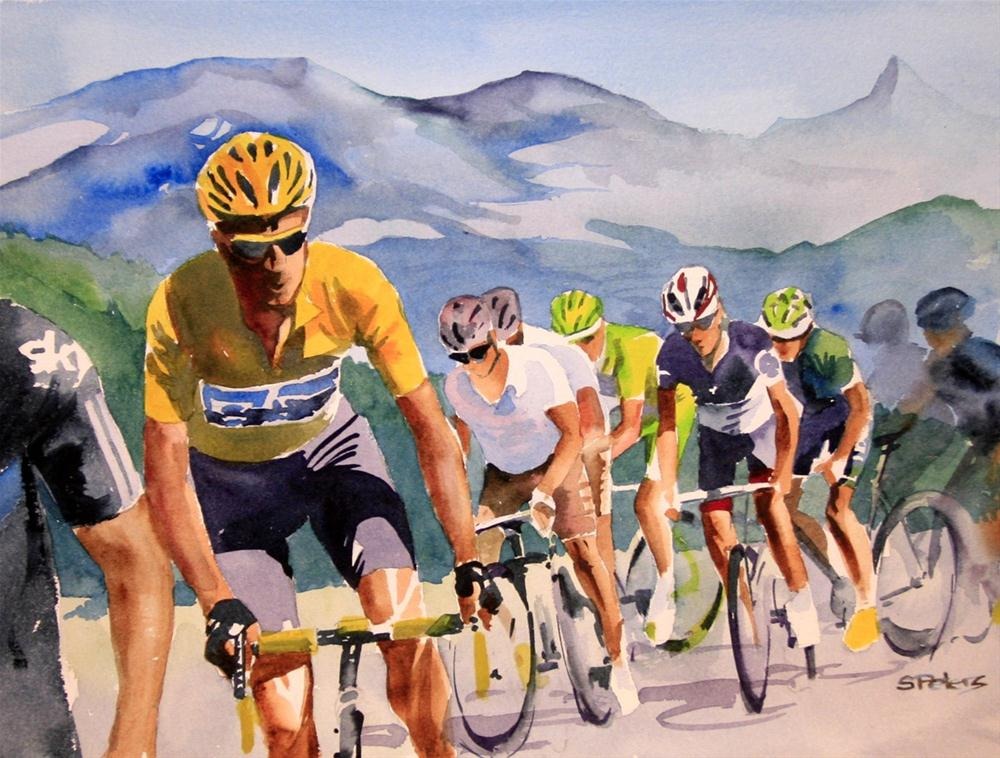 """Brad Wiggins in Yellow"" original fine art by Shirley Peters"