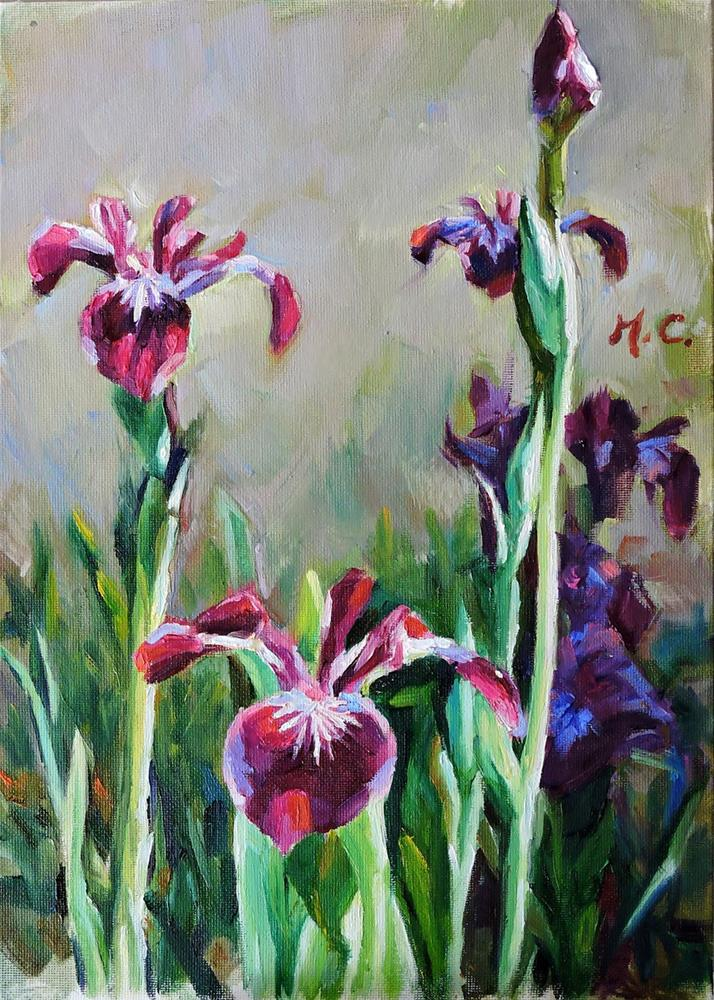 """Sunshine on irises"" original fine art by Michelle chen"