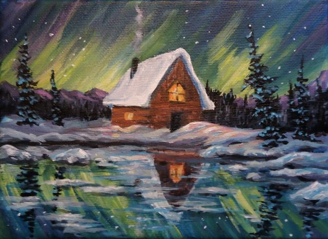 """Cabin Reflection with Northern Lights"" original fine art by Jackie Irvine"