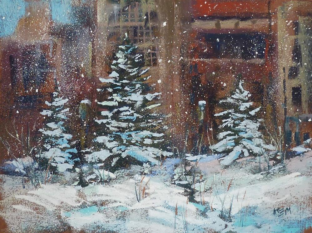 """Which Comes First? Buildings or Snow? Painting a Winter Cityscape"" original fine art by Karen Margulis"