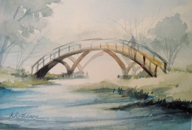 """Fog Over the Bridge"" original fine art by Kathy Los-Rathburn"
