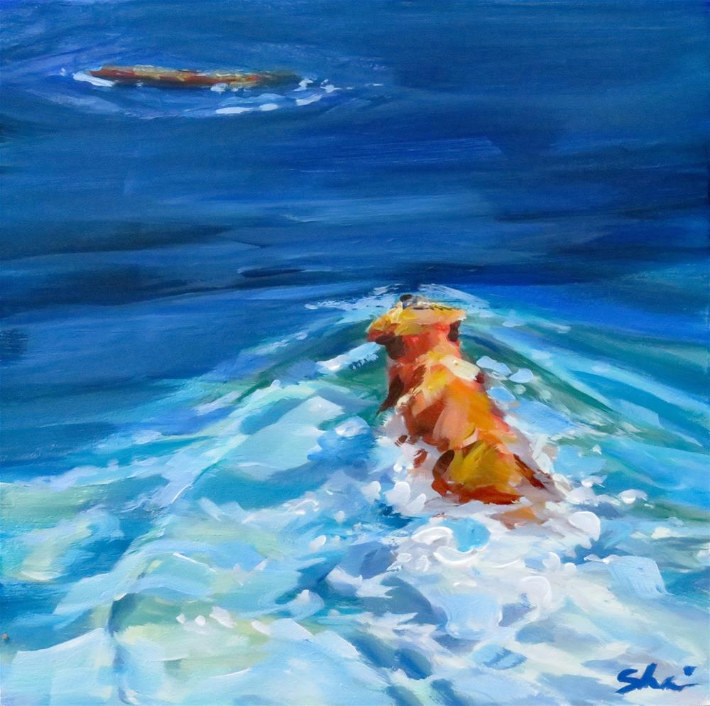 """Swimming For Sticks"" original fine art by Shari Buelt"
