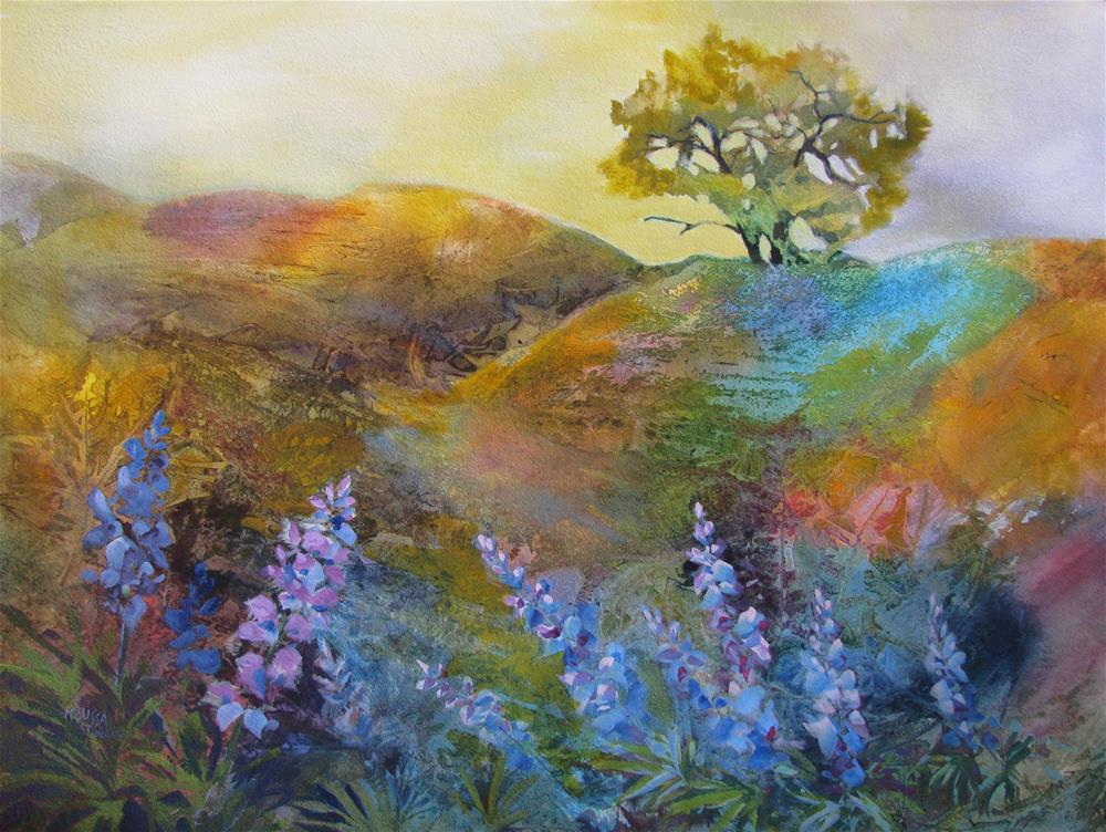 """""""Oak Tree & Lupine"""" original fine art by Melissa Gannon"""