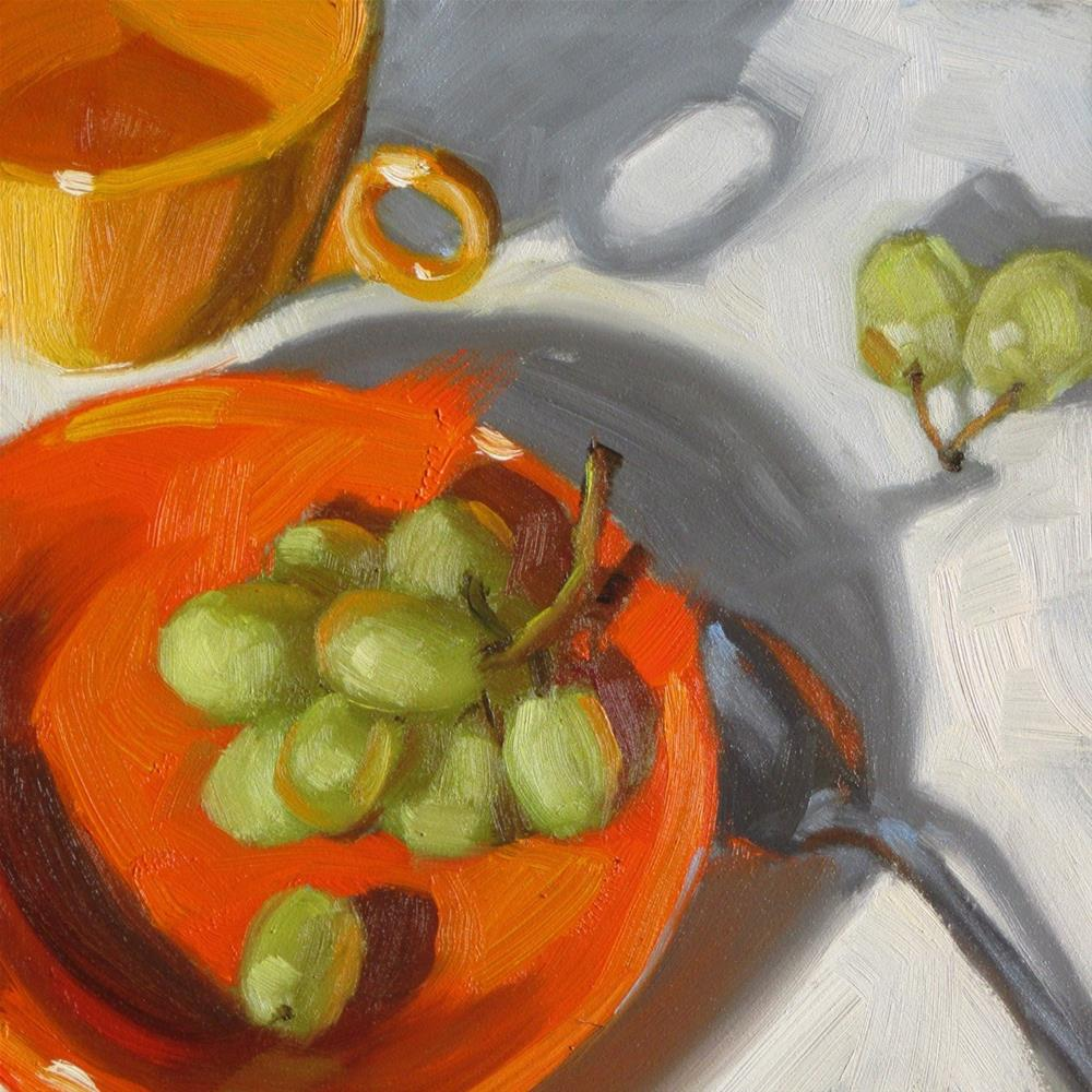 """Green Yellow Orange  6 x 6  oil"" original fine art by Claudia Hammer"