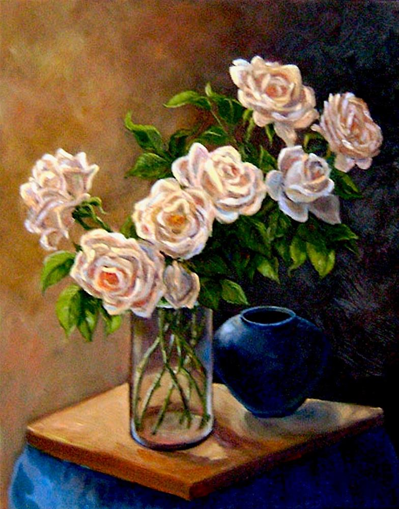 """""""Ivory Roses"""" original fine art by Patricia Musgrave"""