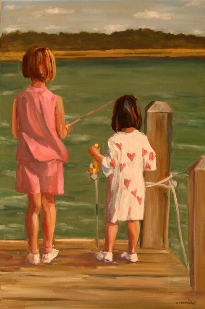 """pj fishing"" original fine art by Carol Carmichael"
