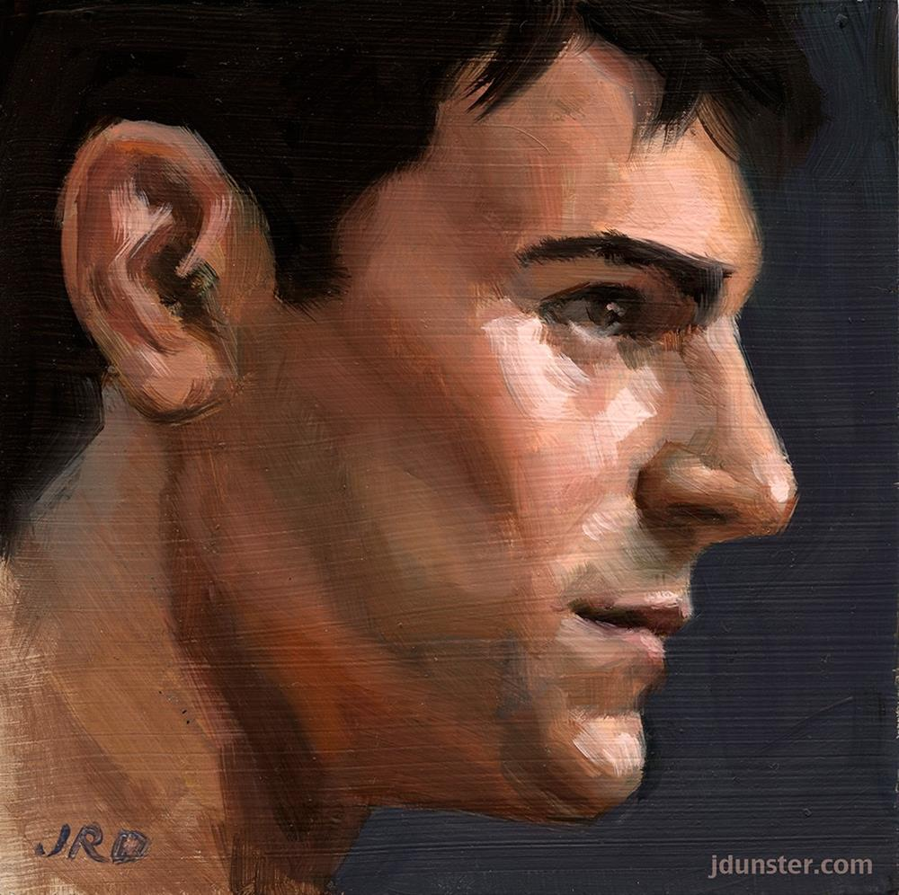 """Male Profile"" original fine art by J. Dunster"
