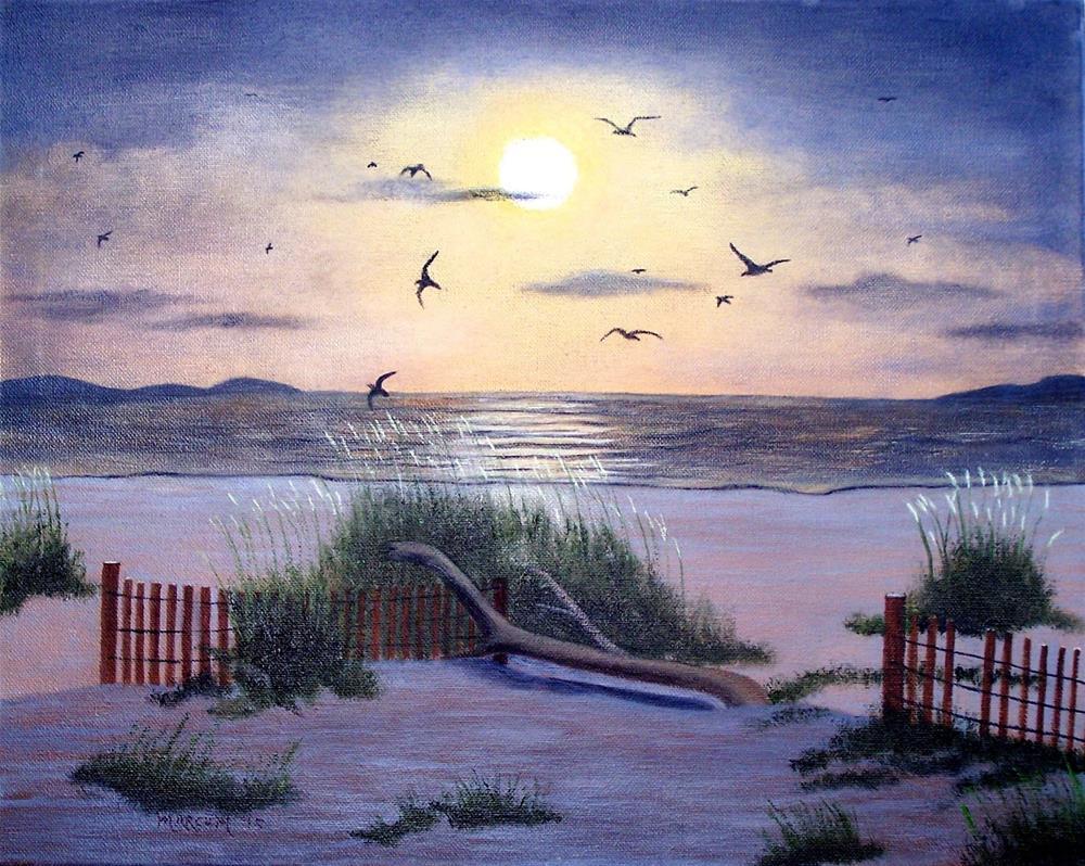 """Tybee Island Beach sunset"" original fine art by John Marcum"